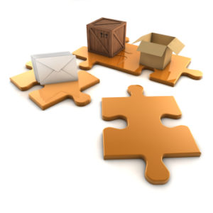 Skrzynka, koperty, karton symbolicznie na puzzlach